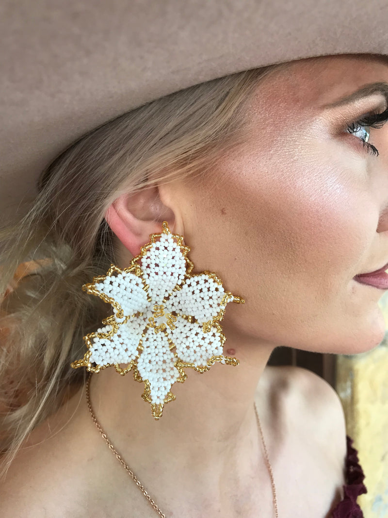 Orchid White Beaded Flower Earrings
