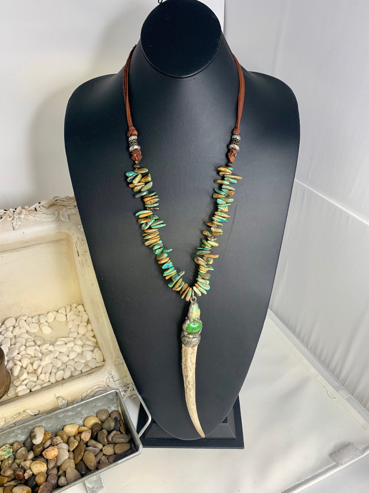 Sabertooth Necklace with Green Turquoise Accent