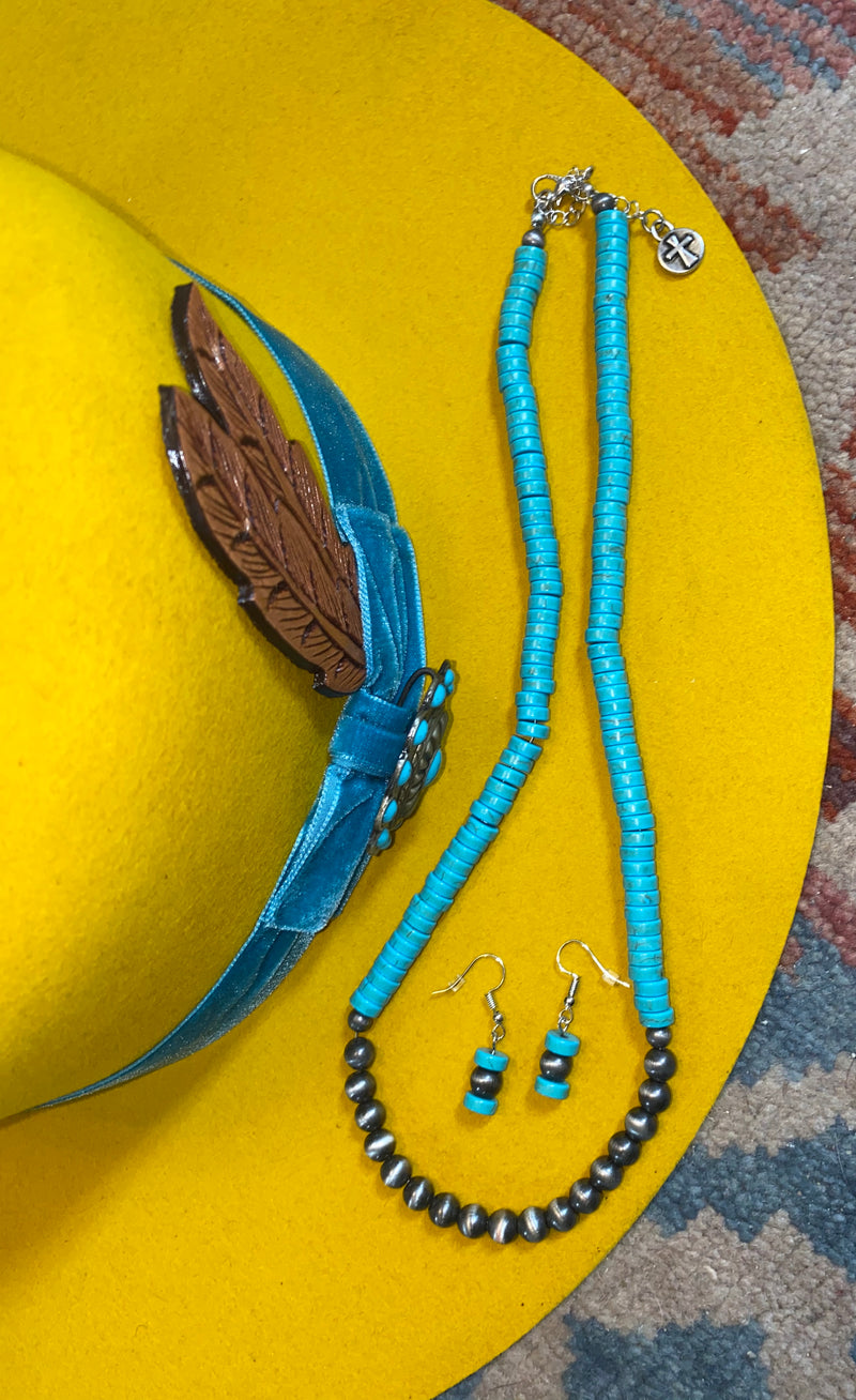 Turquoise Navajo Pearl Necklace Set