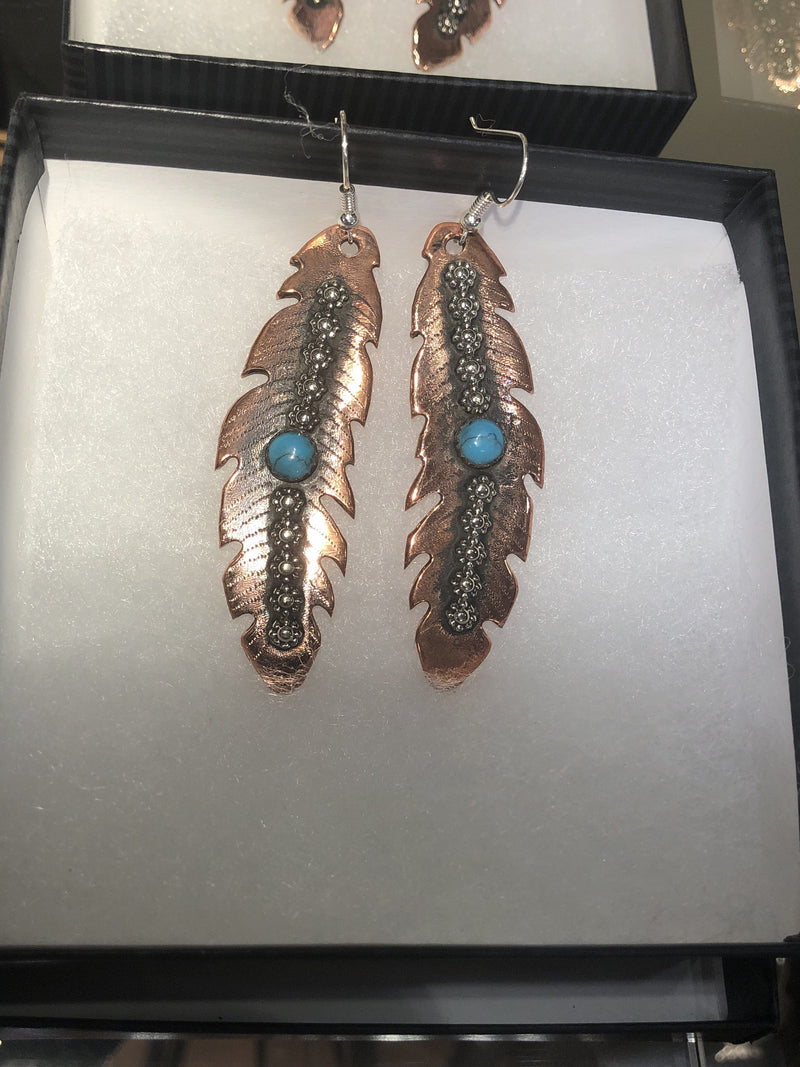 Rush Lewis Large Feather Earrings