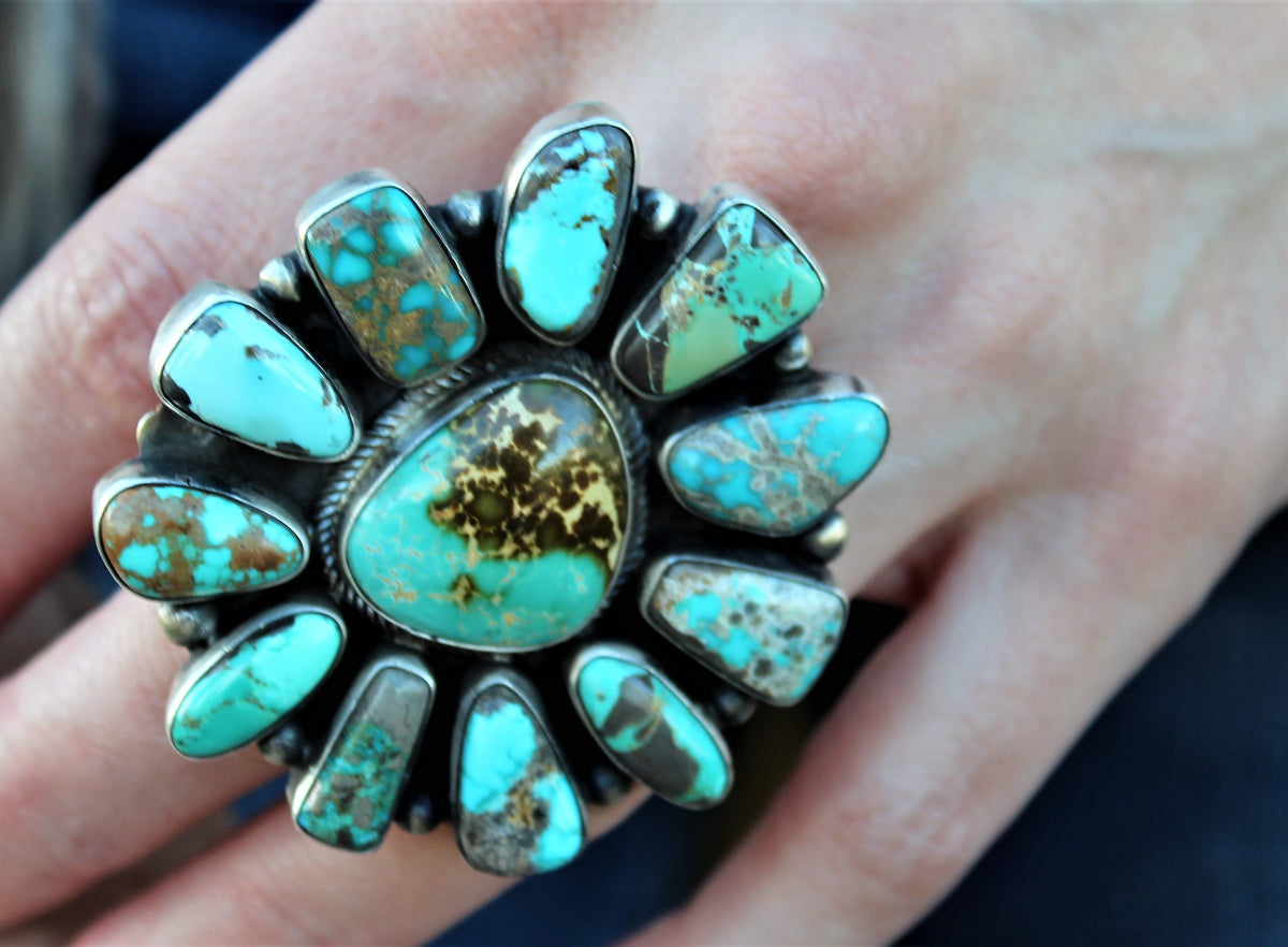 Large Cluster Turquoise Ring