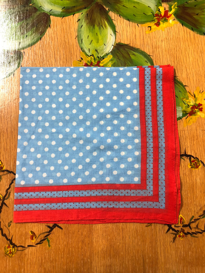 Small Red, White, And Blue Dot Scarf