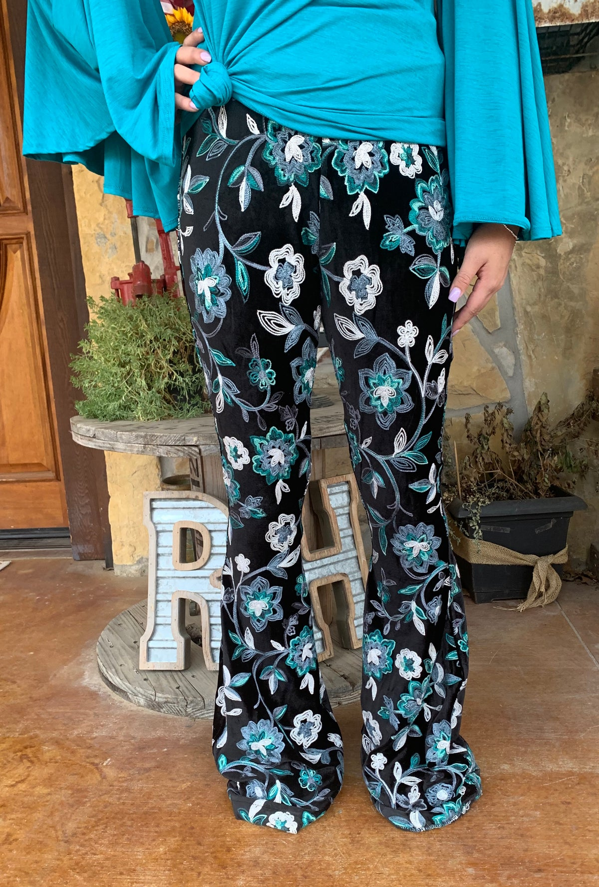 Silverado Velvet Flower Child Blue Bell Bottoms