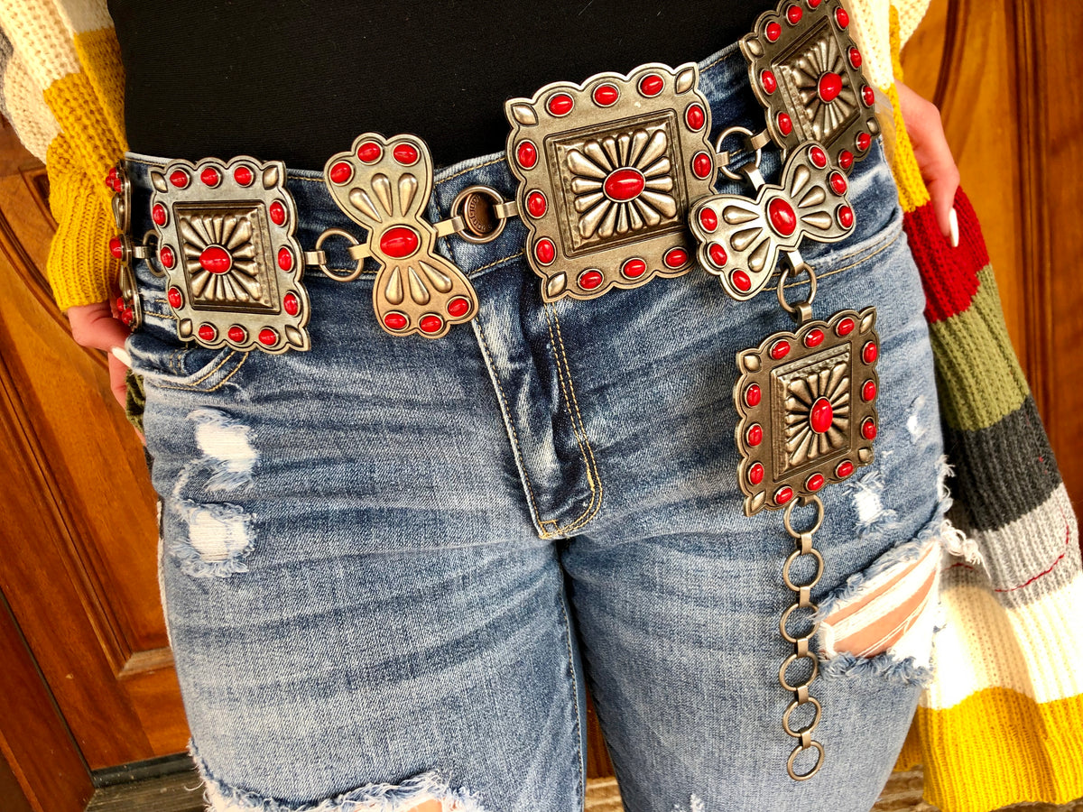 Red Stone Square Concho Chain Belt