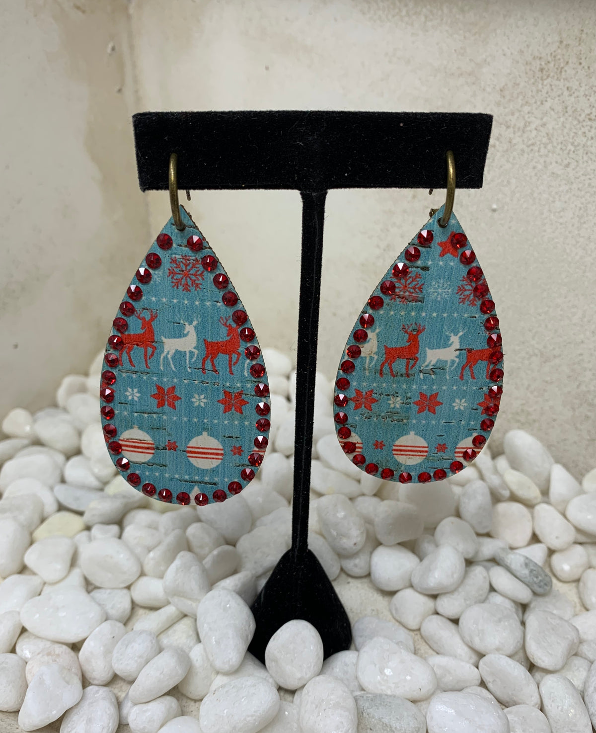 Distressed Reindeer Drop Earrings