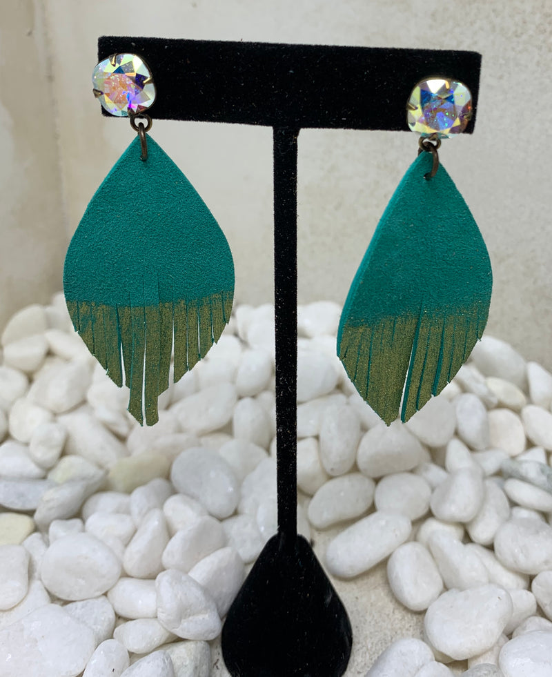 Gold Dipped Turquoise Leaf Earrings