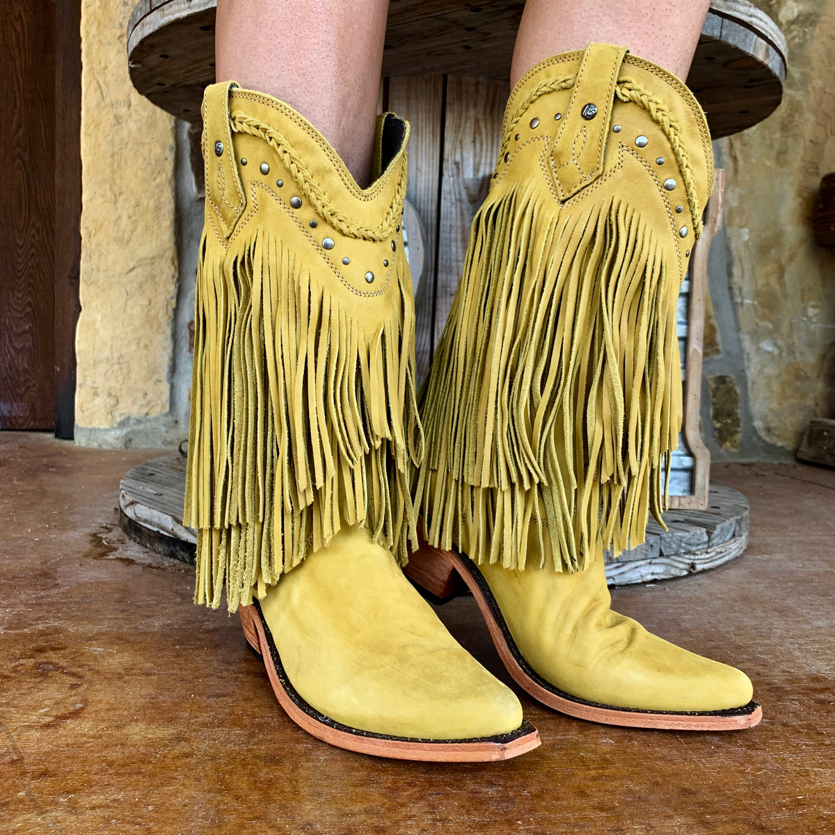 Liberty Black Vegas Mustard Fringe Boot