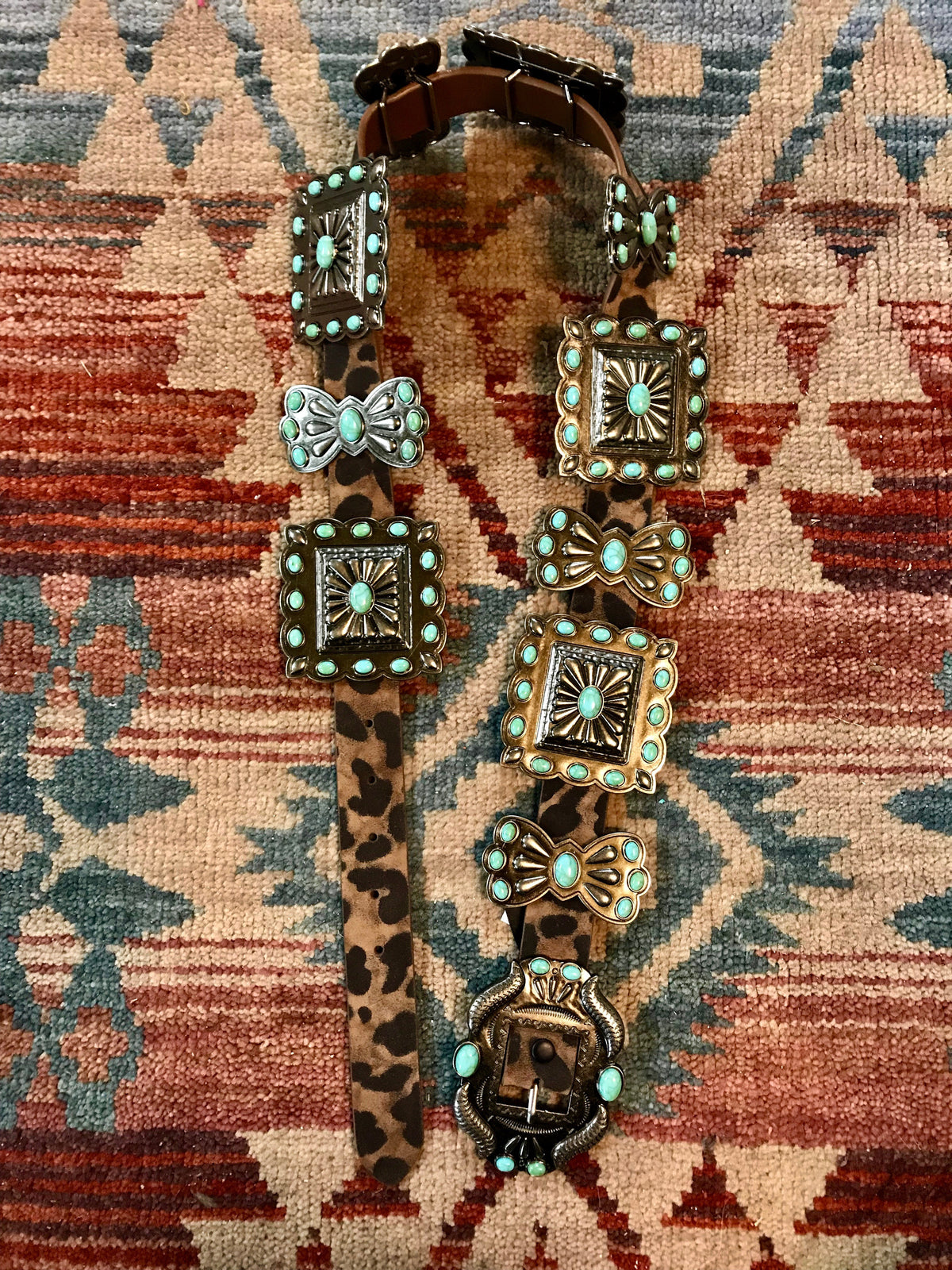 On The Border Leopard Concho Belt