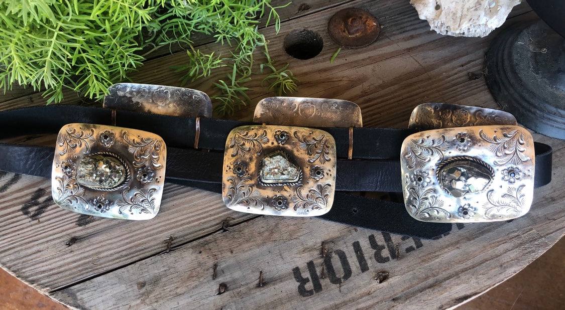 Barbosa Pyrite Pirate Concho Belt