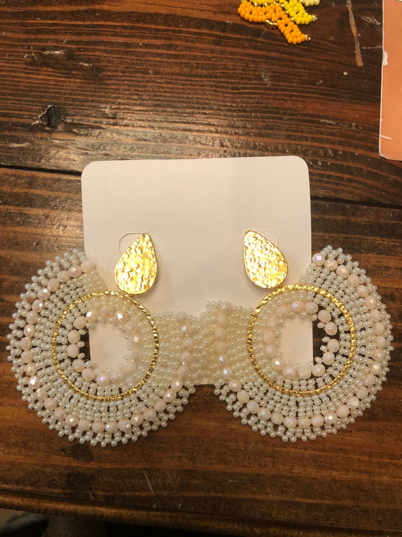 Cream Round Earrings