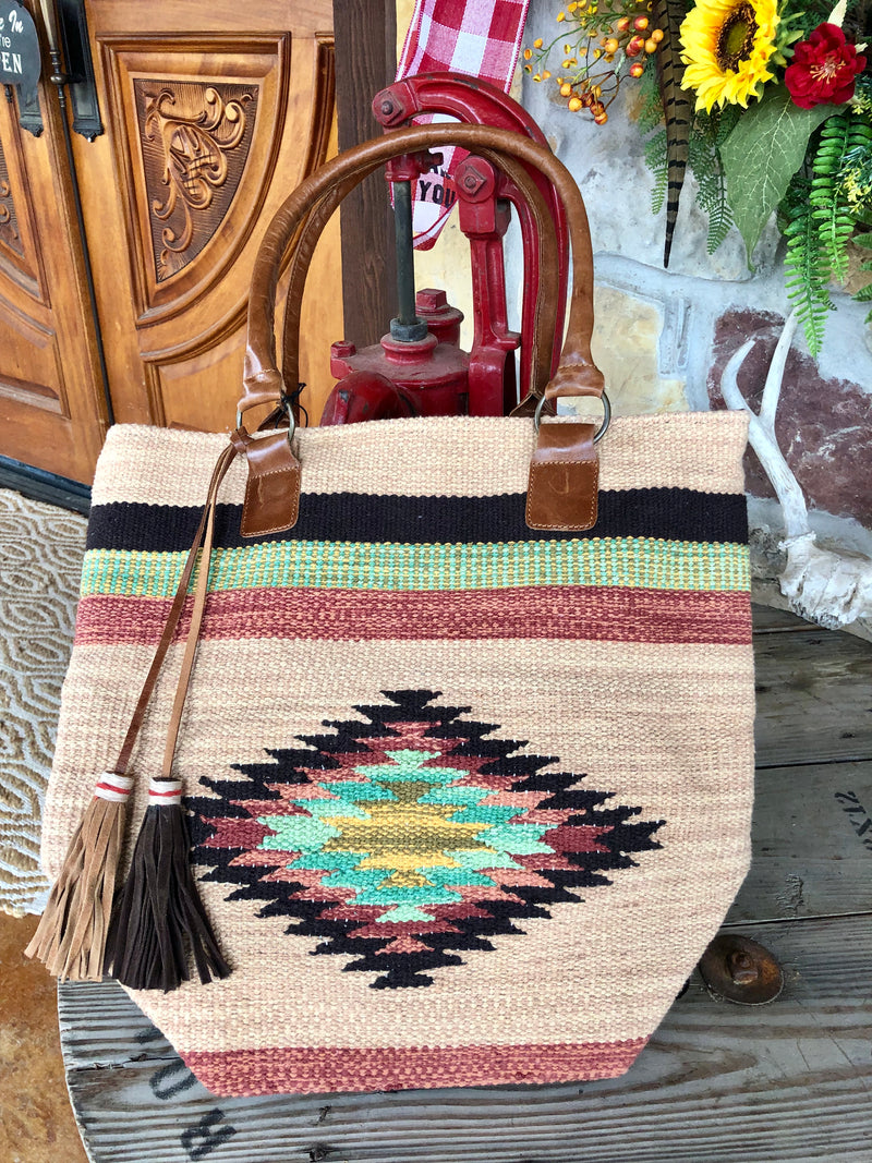 Woven Aztec Multi Colored Bag with Leather Tassels