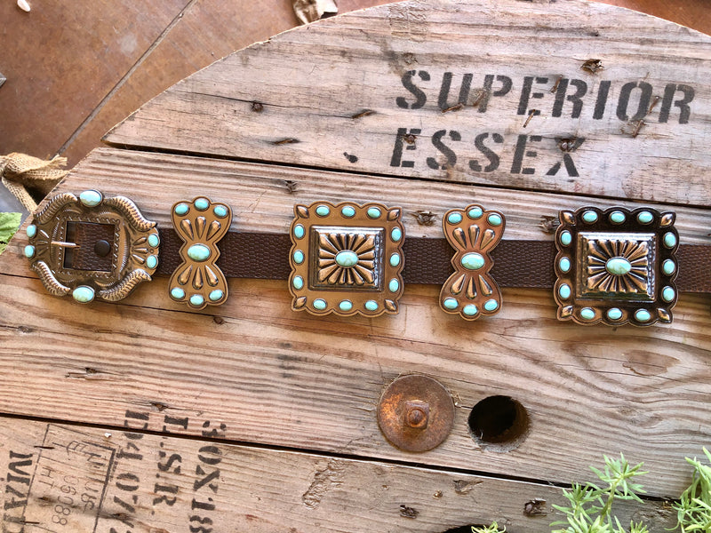 Brown Textured Belt with Turquoise Conchos