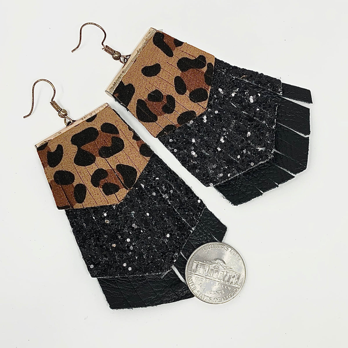 Tiered Fringe Leopard Earrings