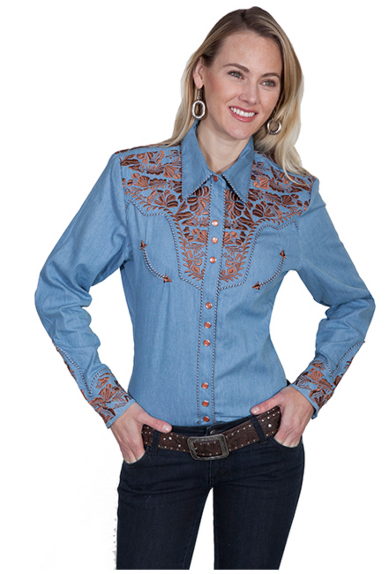 Scully Tooled Champagne Denim Top