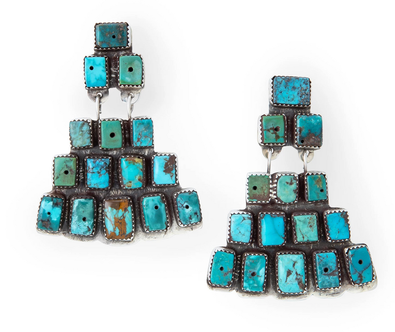 Double D Turquoise Pyramid Earrings