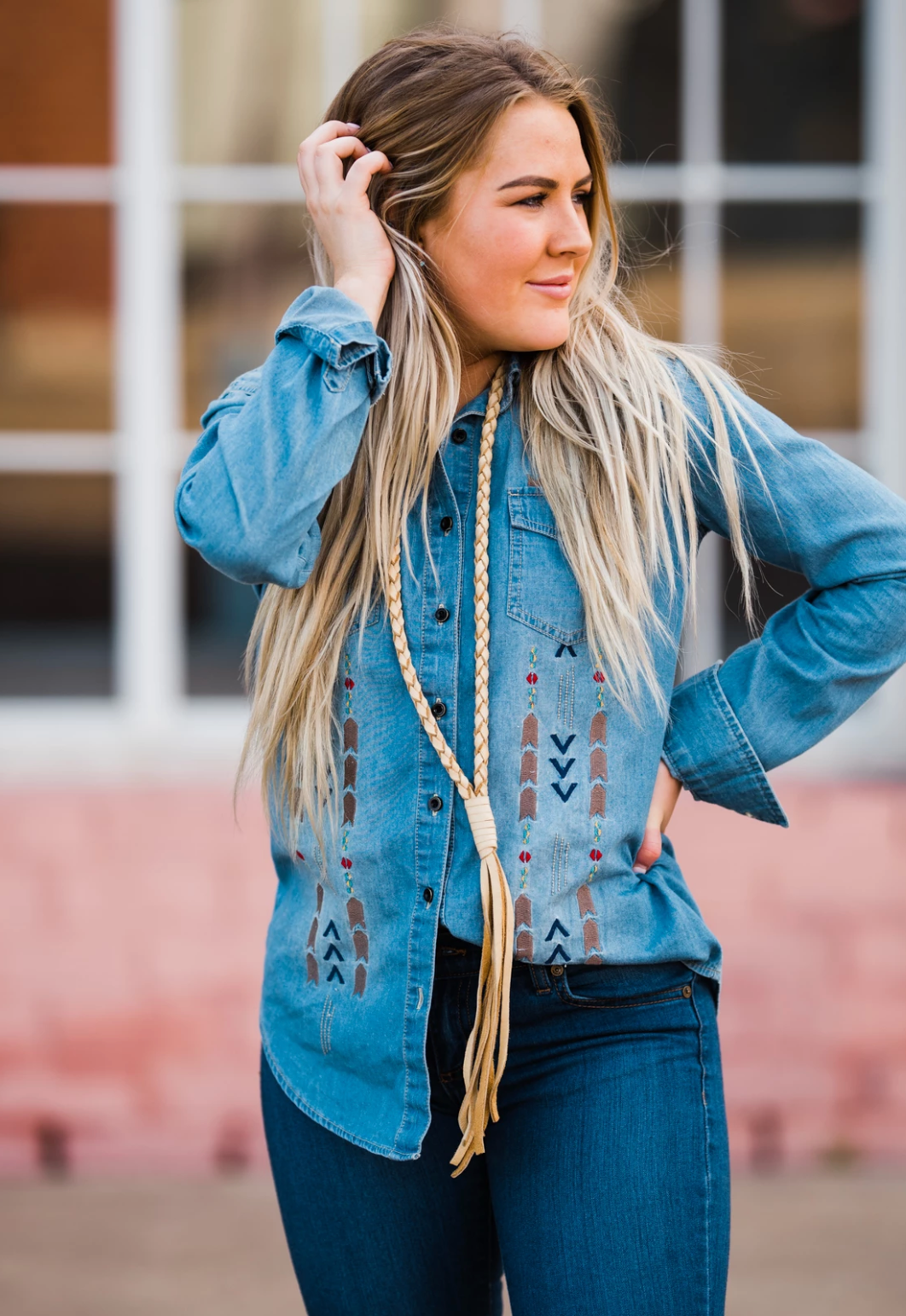 The Braided Bandit Leather Tassel Necklace - Medium Length