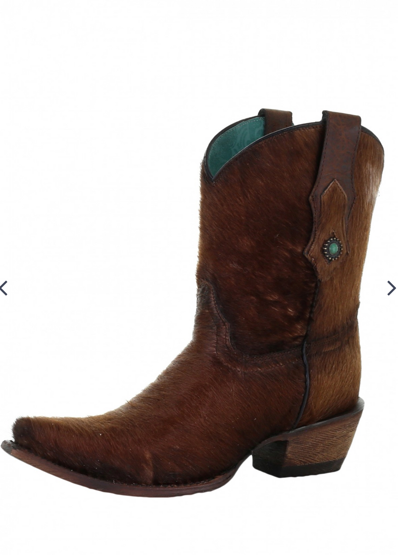Corral Calf Hair & Conchos Ankle Boot