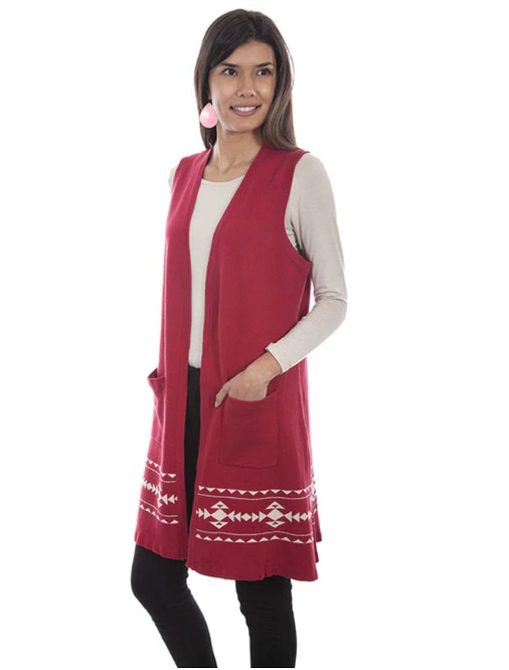 Scully Indian Headdress Sweater Vest Duster - Red