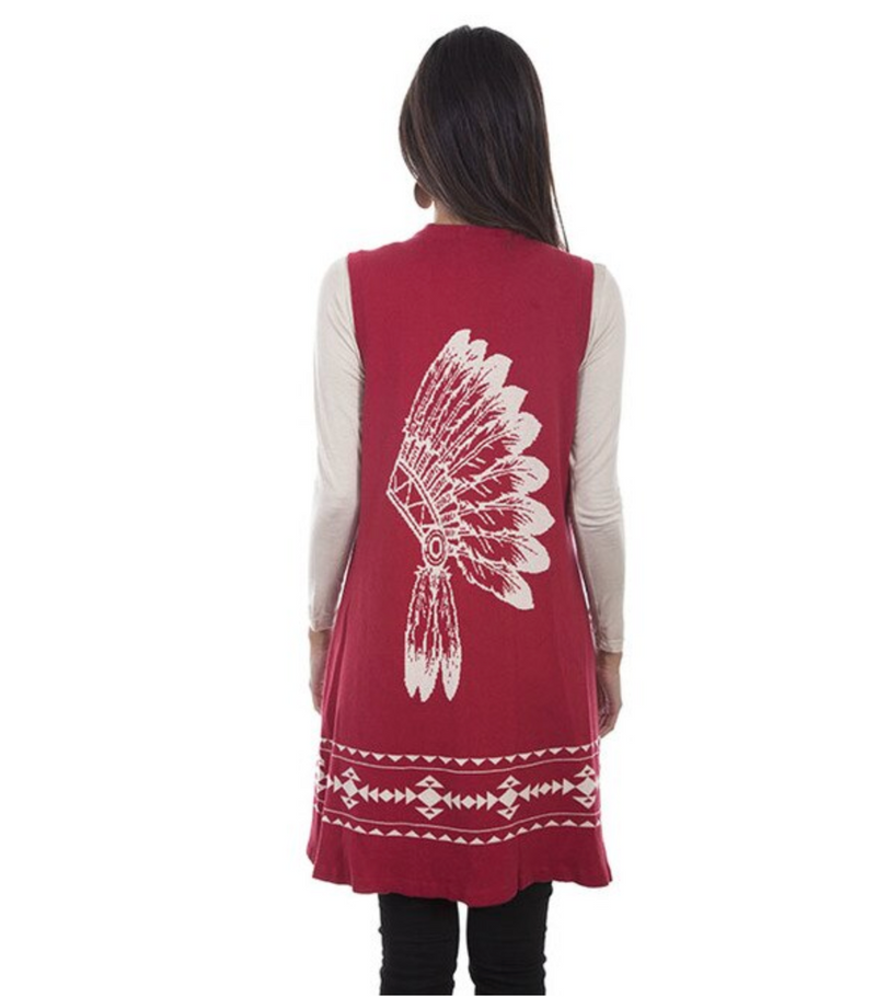 Scully Indian Headdress Sweater Vest Duster