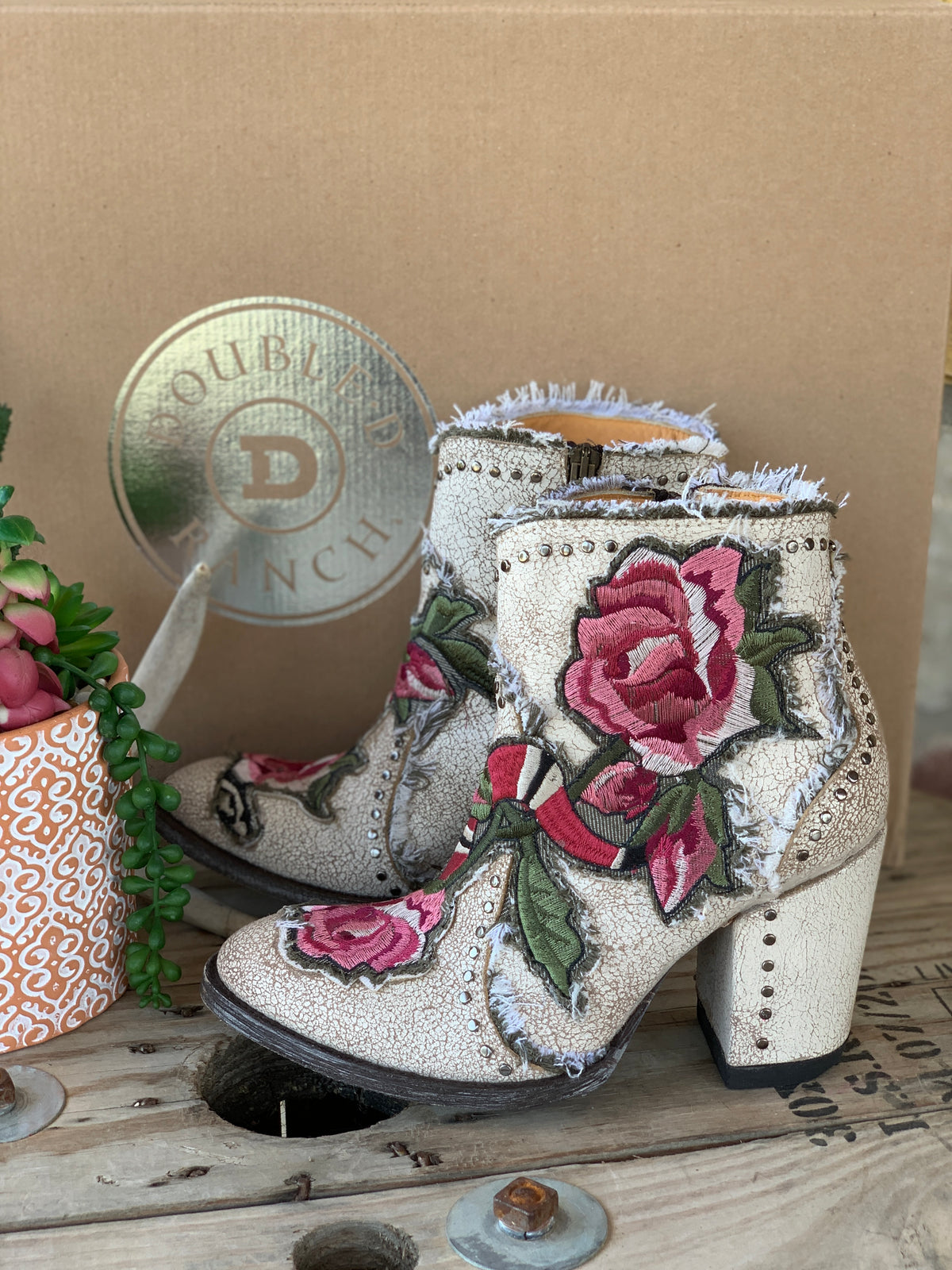 Old Gringo Carla Floral Bootie - Crackled White