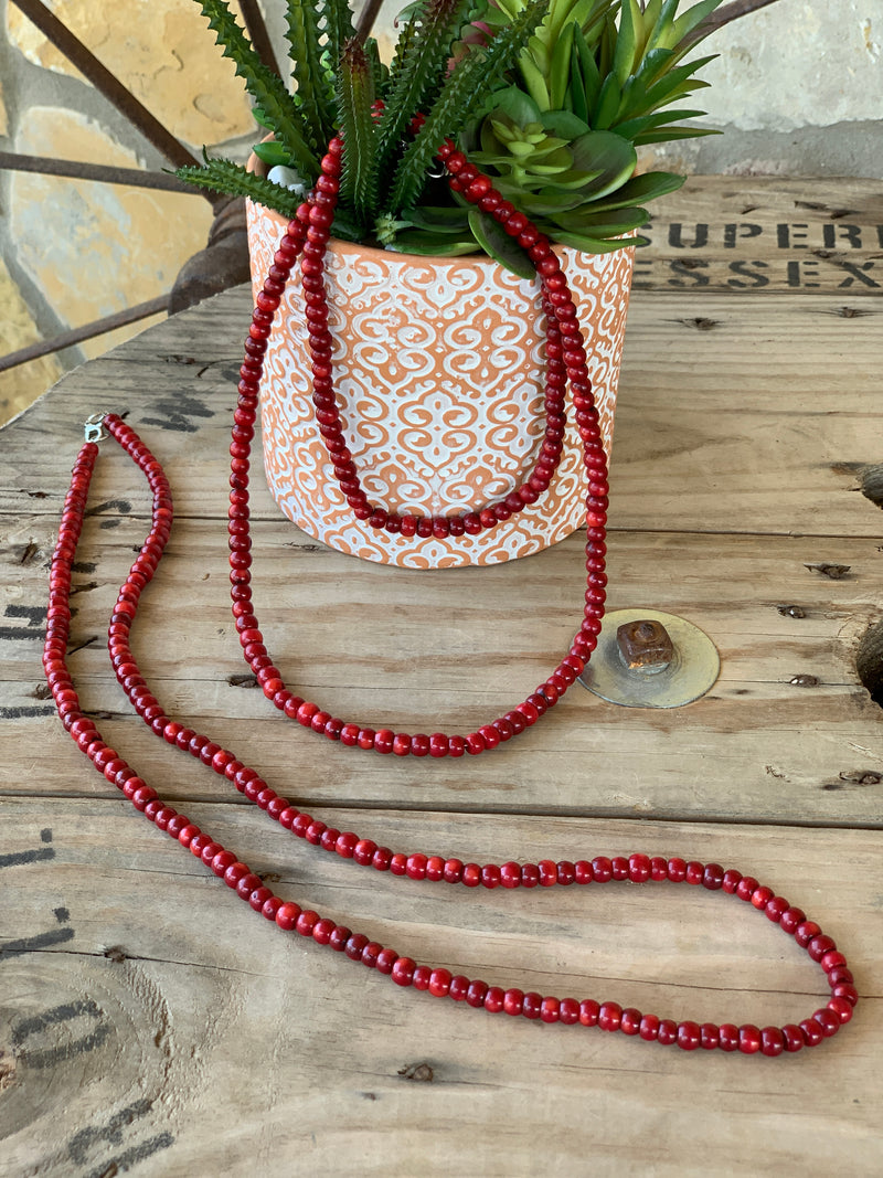 Ruby Sliper Coral Wrap Necklace XL
