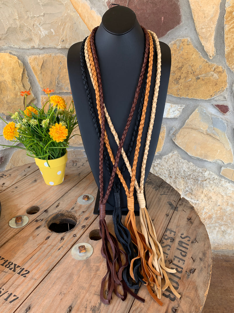 The Braided Bandit Leather Tassel Necklace