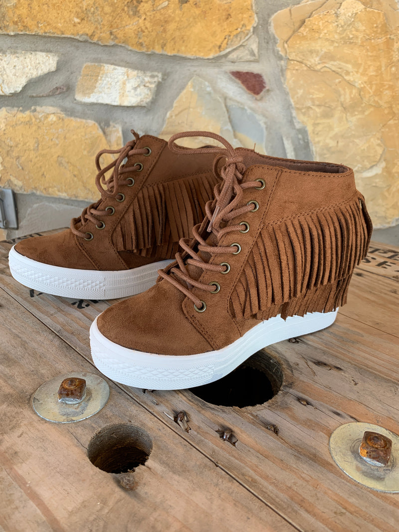 Stella Fringe Moccasin Wedge Booties