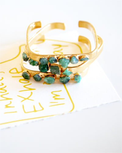 Emerald Square Gold Cuff
