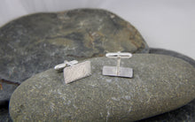 Load image into Gallery viewer, Hammered Rectangular Silver Cufflinks