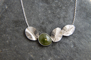 Green Sapphire and Leaf Statement Necklace