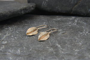 9ct Gold Drop Leaf Earrings