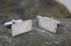 Hammered Rectangular Silver Cufflinks