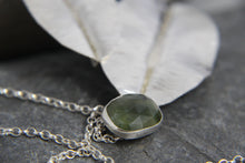 Load image into Gallery viewer, Green Sapphire Leaf Trio Long Pendant