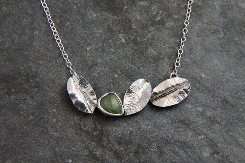 Green Sapphire and Leaf Necklace