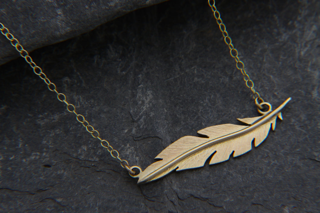 Gold Floating Feather Necklace