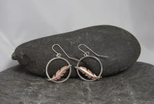 Load image into Gallery viewer, Cooper Floating Feather Dangle Earrings