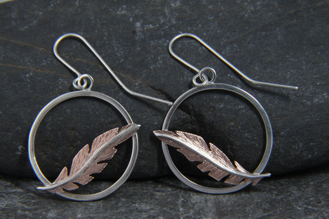 Cooper Floating Feather Dangle Earrings
