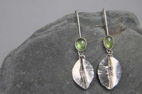 Green Sapphire and Leaf Drop Earrings
