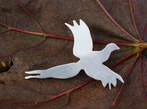 Pheasant in Flight Lapel Pin - Lucy Symons Jewellery