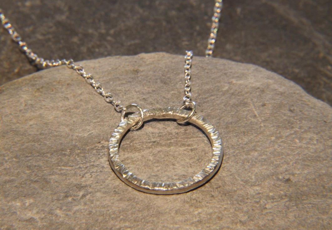 Hammered Circle Necklace - Lucy Symons Jewellery