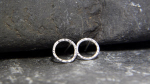 Hammered Circle Stud Earrings - Lucy Symons Jewellery