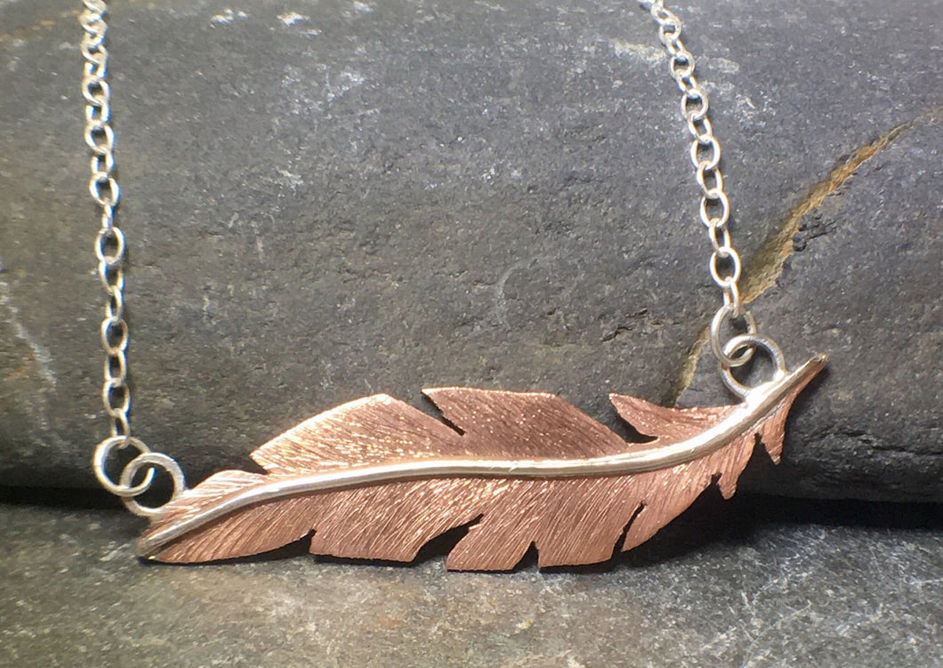 Floating Feather Copper Necklace - Lucy Symons Jewellery