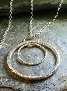 Double Circle Long Statement Pendant - Lucy Symons Jewellery