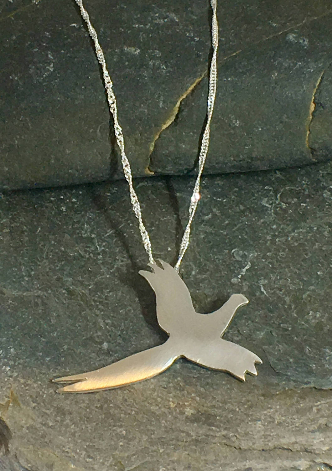 Pheasant in Flight Pendant - Lucy Symons Jewellery