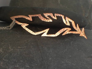 Copper Feather Long Pendant - Lucy Symons Jewellery