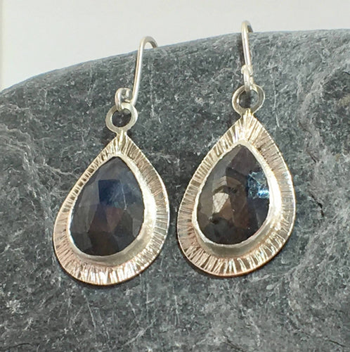 Blue Sapphire Tear Drop Earrings - Lucy Symons Jewellery