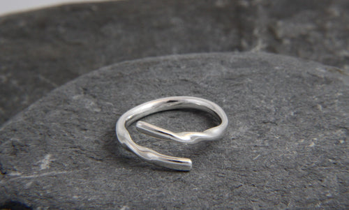 Rolling Waves Adjustable Wrap Ring - Lucy Symons Jewellery