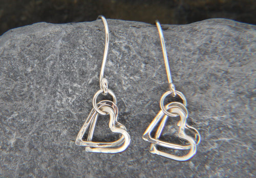 Entwined Heart Drop Earrings - Lucy Symons Jewellery