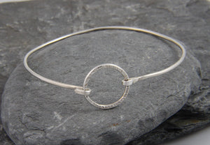 Hammered Circle Clasp Bangle - Lucy Symons Jewellery