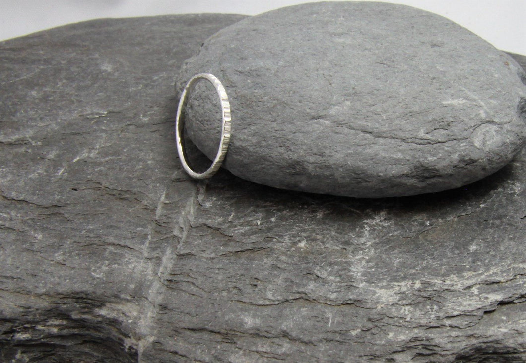 Hammered Skinny Stacking Ring - Lucy Symons Jewellery